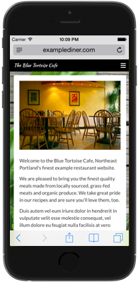 Mobile restaurant website