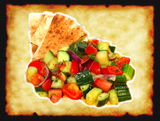 Diced Roma tomatoes, Persian Cucumbers, Red onions, & marinated in our own Olive oil-Dill dressing
